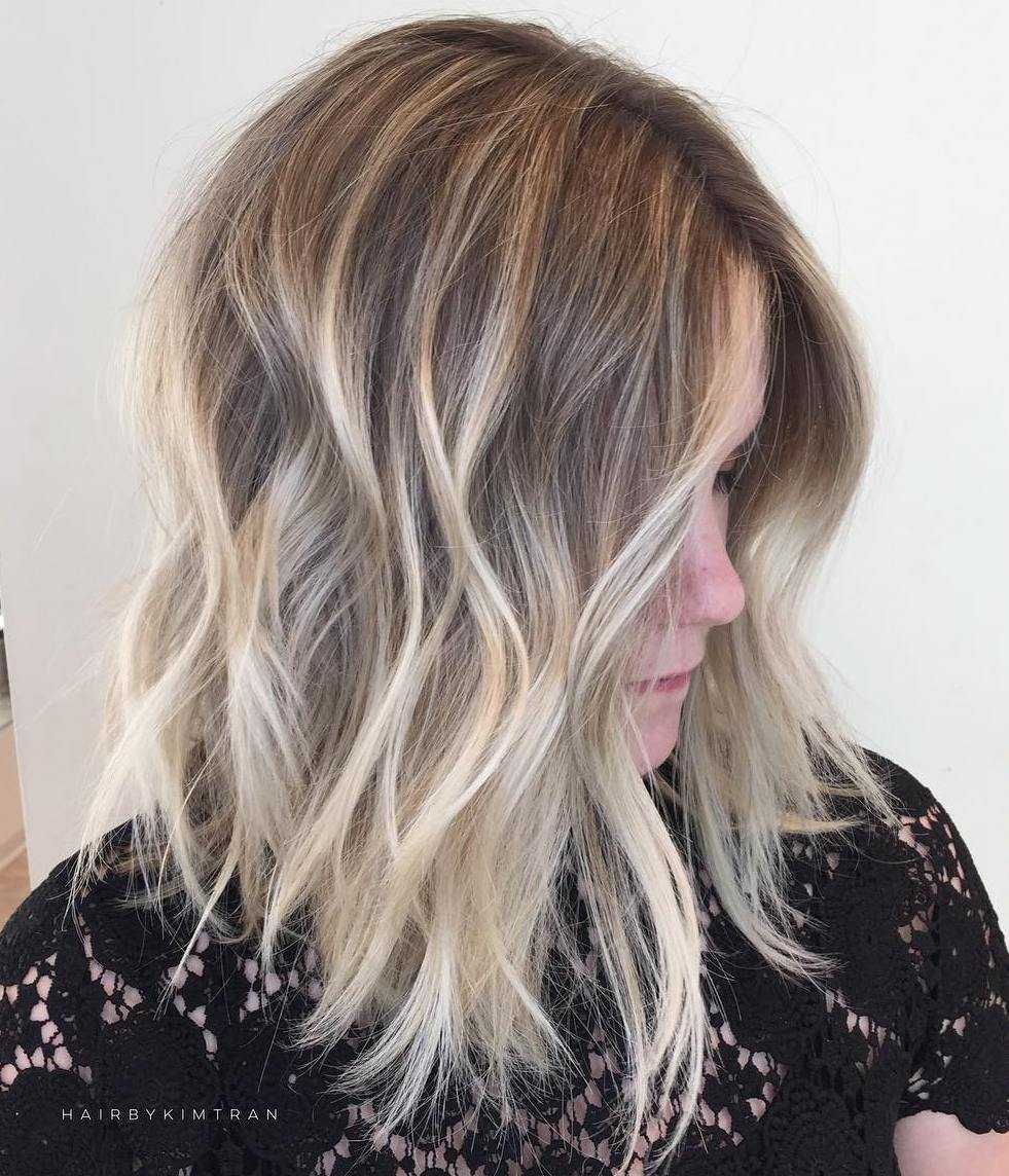 Messy Blonde Balayage Lob