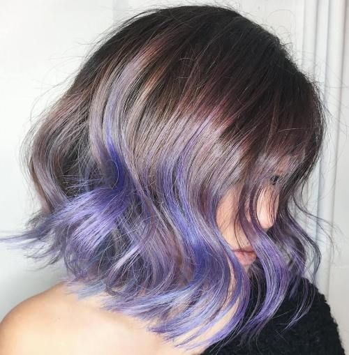 Brown Bob With Purple Ends