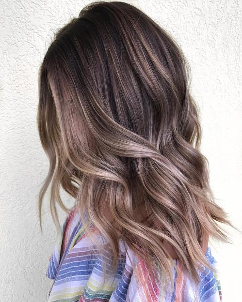 Layered Light Brown Balayage Hair