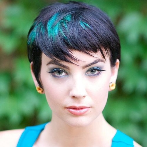 Black Pixie With Teal Balayage
