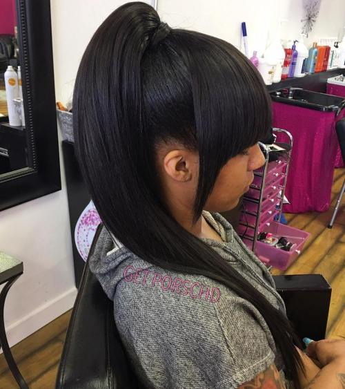 Slick Black Ponytail With Bangs