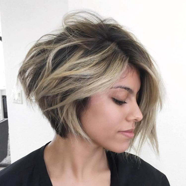 Asymmetrical Inverted Bob With Highlights