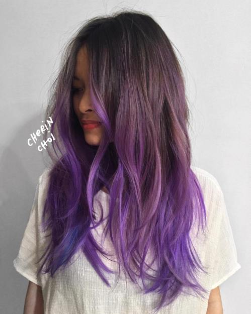 Purple ombre hair ideas plum lilac lavender and violet hair colors bright purple hair color solutioingenieria