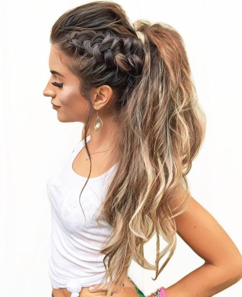 Messy Long Ponytail With Side Braid