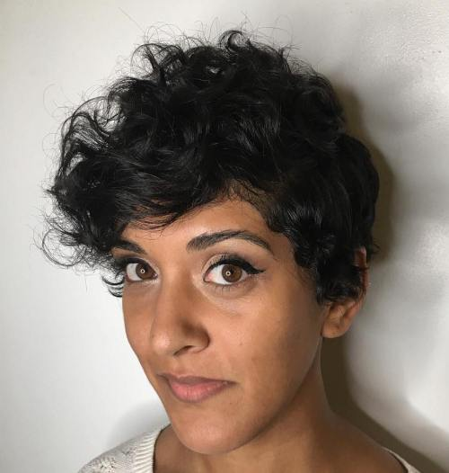 standout curly and wavy pixie