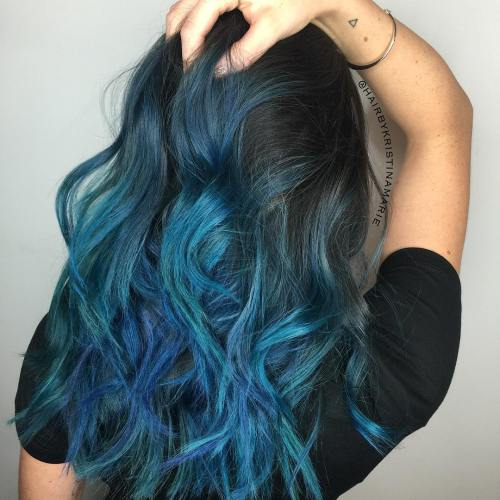 Black Layered Hair With Blue Balayage