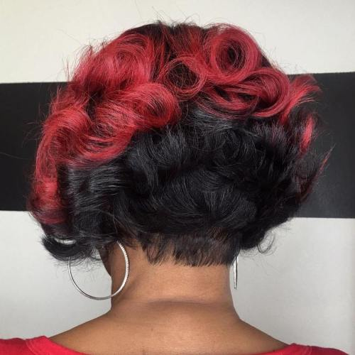 African American Red And Black Curly Bob