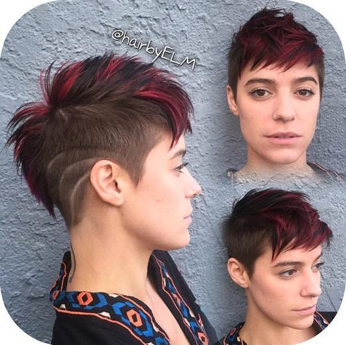 funky red and brown Mohawk for girls