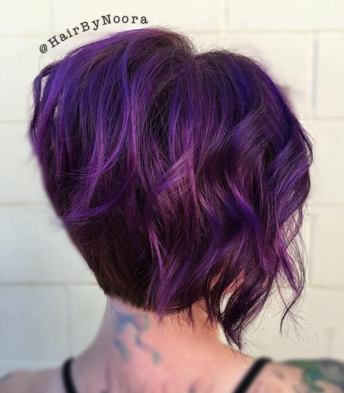 short layered lavender hair
