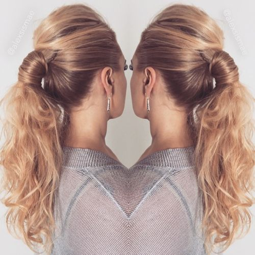 sleek into messy pony with a bouffant