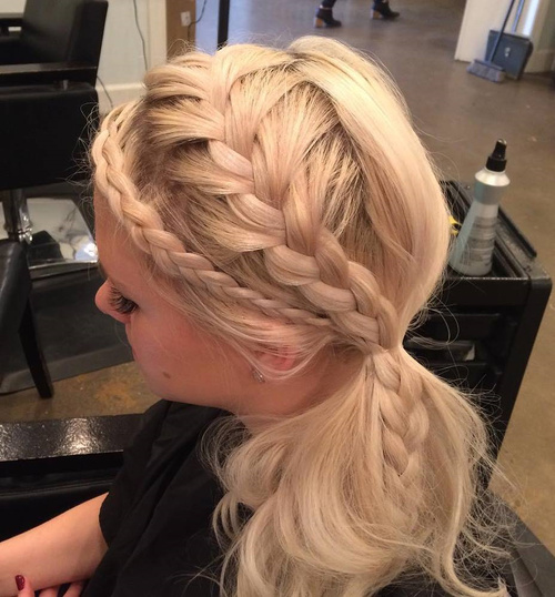 Two Braids And Side Ponytail Hairstyle