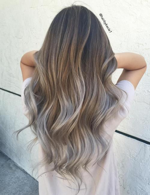 Light Brown And Silver Balayage Hair