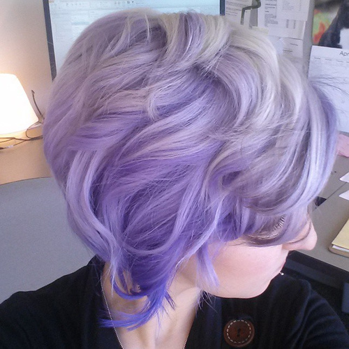 short wavy lavender hairstyle
