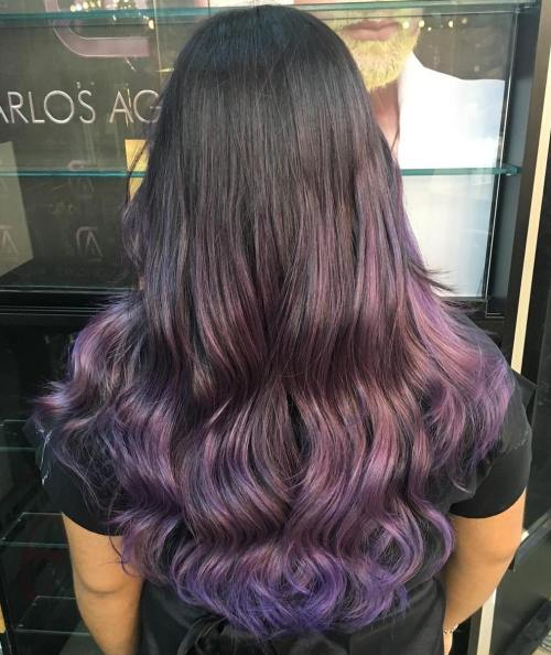 Subtle Purple Ombre For Brunettes