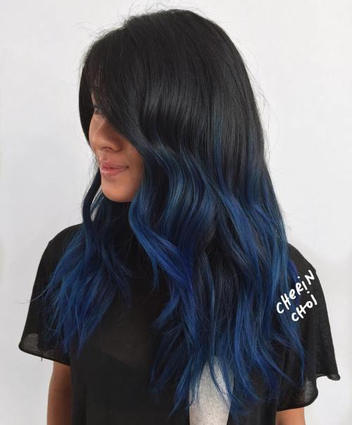 40 fairy like blue ombre hairstyles black hair with blue balayage highlights pmusecretfo Choice Image