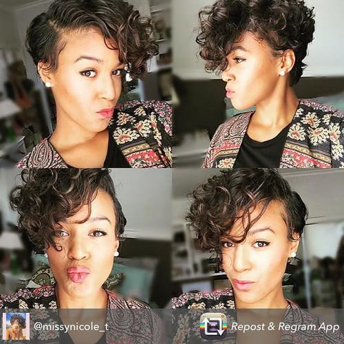 brunette pixie cut for curly hair
