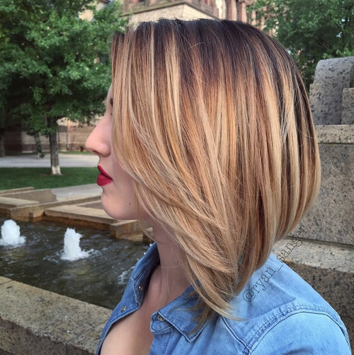 brown blonde bob with ombre highlights