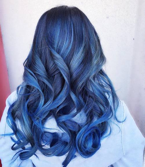 Black And Blue Balayage Hair