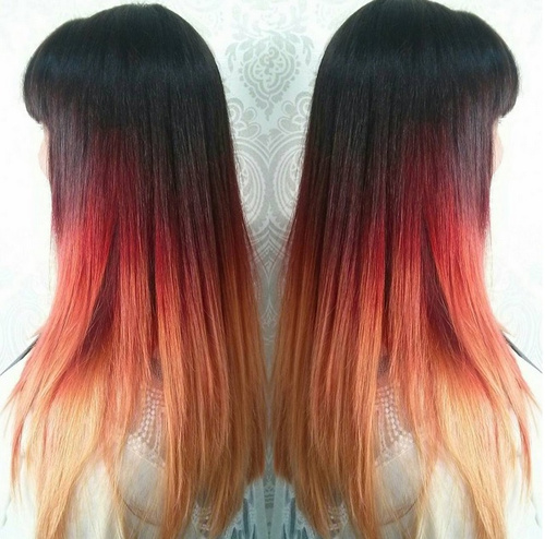 red and blonde ombre for straight black hair