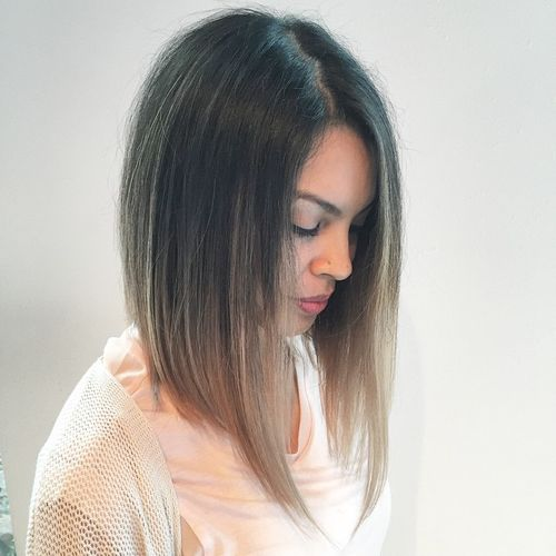 brunette lob with ash brown ombre