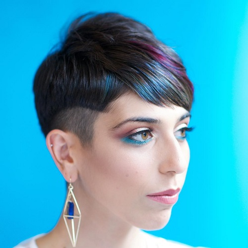 Pixie With Temple Undercut And Highlights