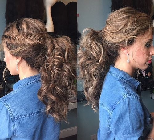 30 eye catching ways to style curly and wavy ponytails curly messy ponytail with a fishtail pmusecretfo Image collections