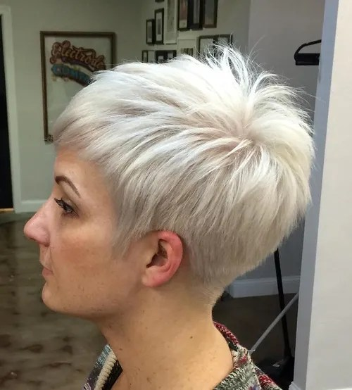 Silver Blonde Pixie Hairstyle