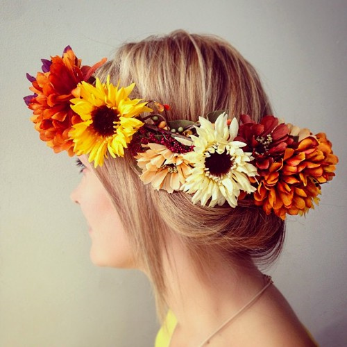 easy updo with fall flower crown