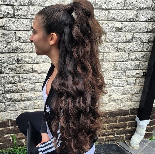 long curly half pony hairstyle