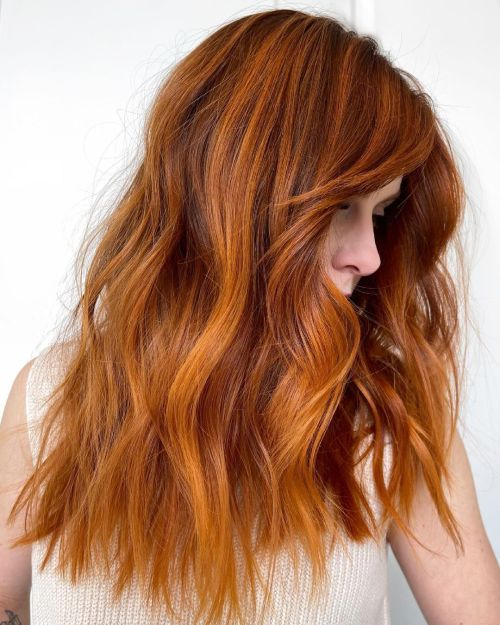 Bright Ginger Hair with Highlights and Lowlights
