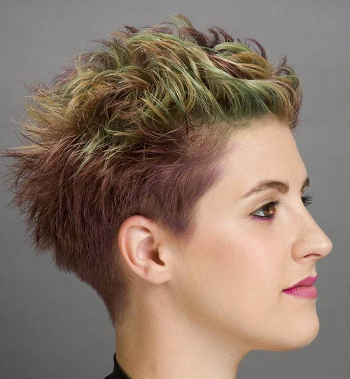Purple Brown Hair With Green Highlights