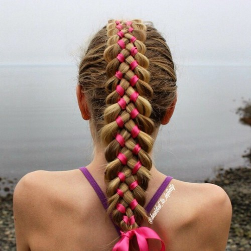 ribbon braid back to school hairstyle