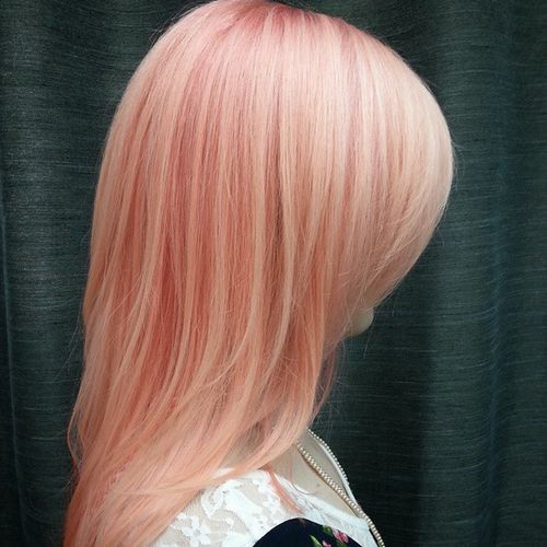 pastel peachy pink hair with lowlights