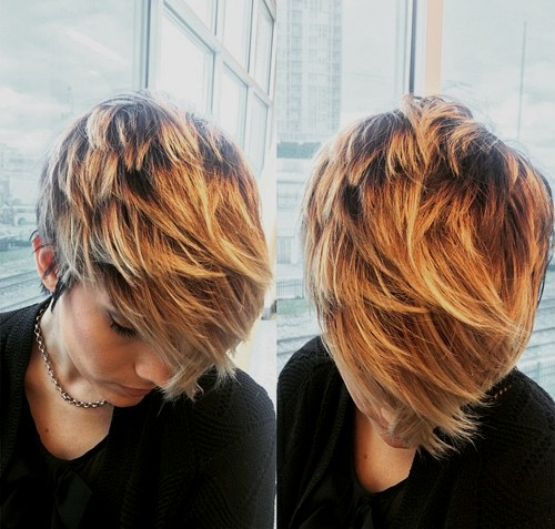 pixie with balayage highlights