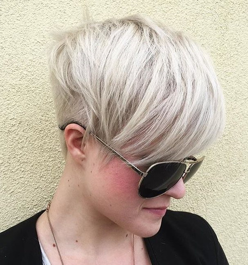 Silver Blonde Layered Pixie Undercut