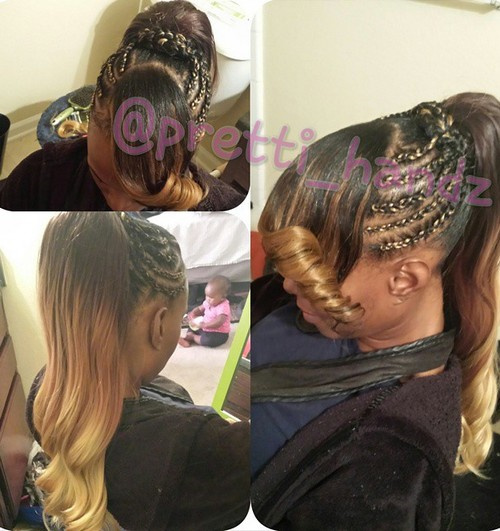 long ponytail with side cornrows