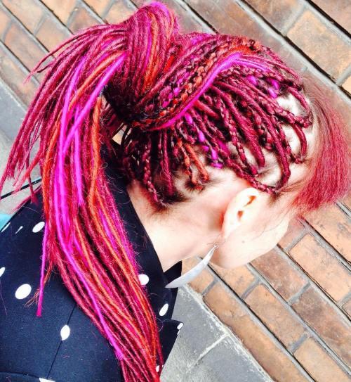 Pink Faux Locs Ponytail