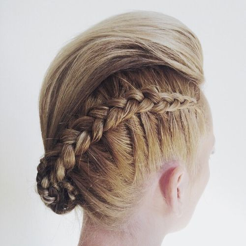 elegant mohawk updo with a braid and bun