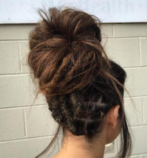 Big Messy Bun With Dreadlocks