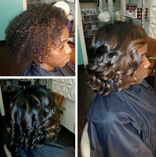 wavy bob with highlights for black women