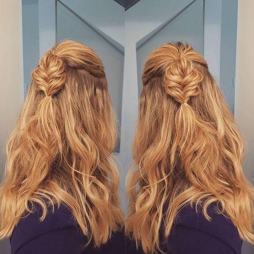 fishtailed half ponytail