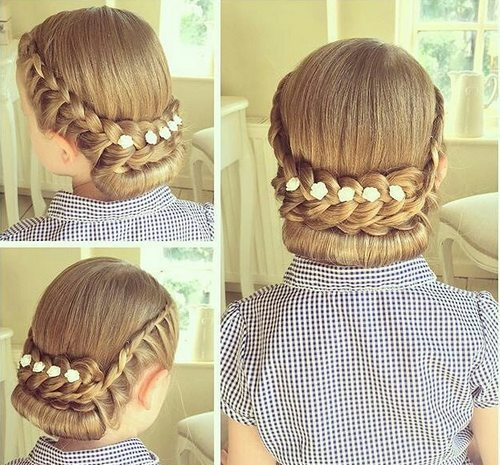 formal braided roll updo for girls