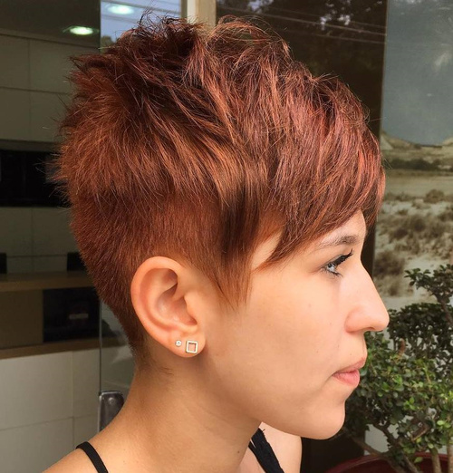 Short Red Pixie With Layered Bangs