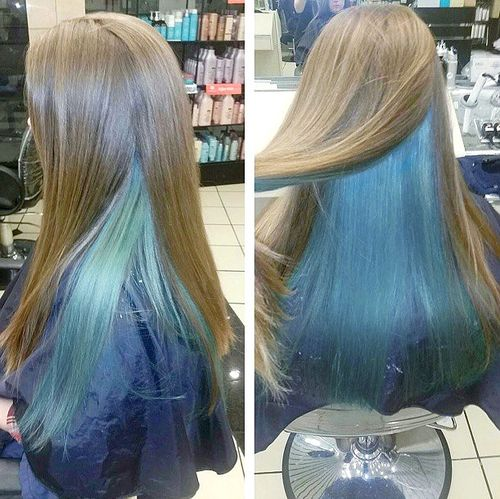 light brown and blue two-tone hair