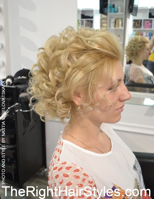 vintage curly blonde updo