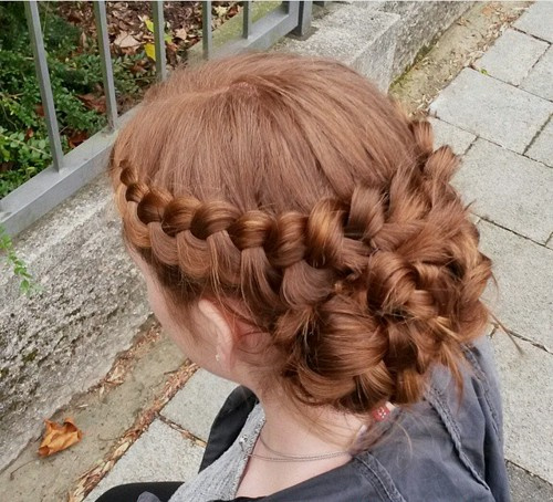 crown braid and low bun updo