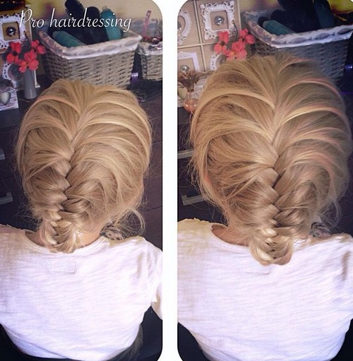 simple braided back to school updo