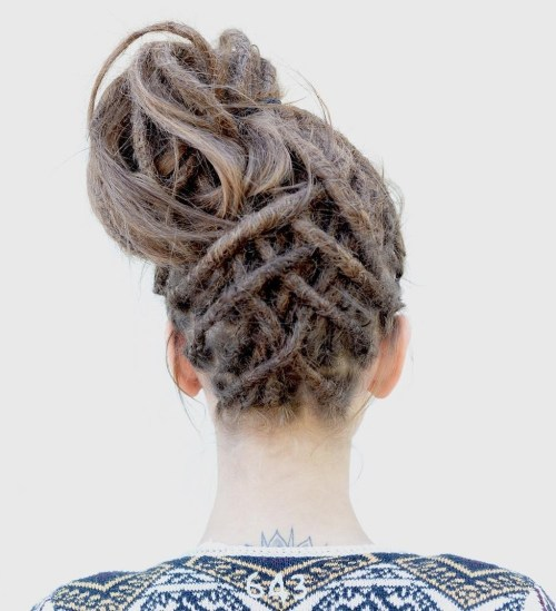 high bun from dreadlocks