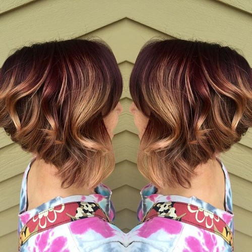 caramel and burgundy balayage highlights