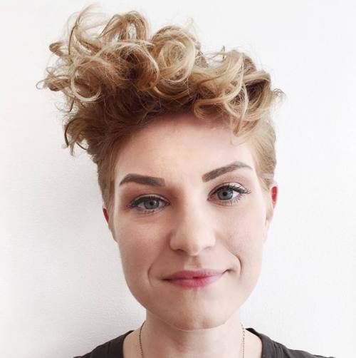 long curly top pixie with short sides